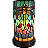 """Amora Lighting Tiffany Style Accent Lamp 10"""" Tall Stained Glass Yellow Red Dragonfly Floral Vintage Antique Light Decor…"""
