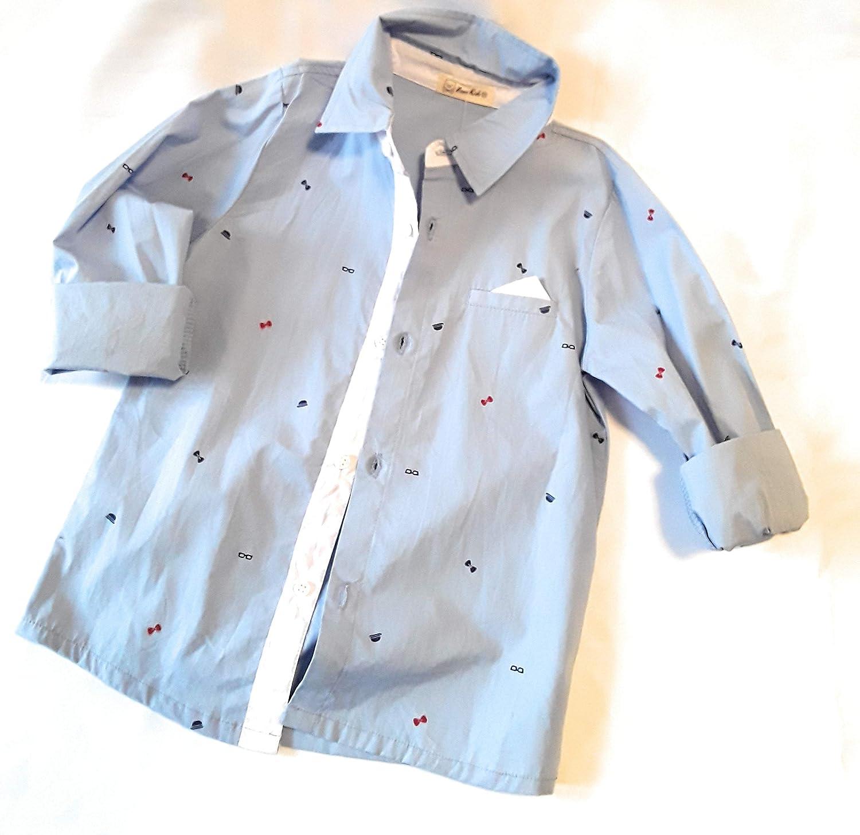 Light Blue Button Down Dress Shirt for Boys//Toddlers MekilyZ /& Co