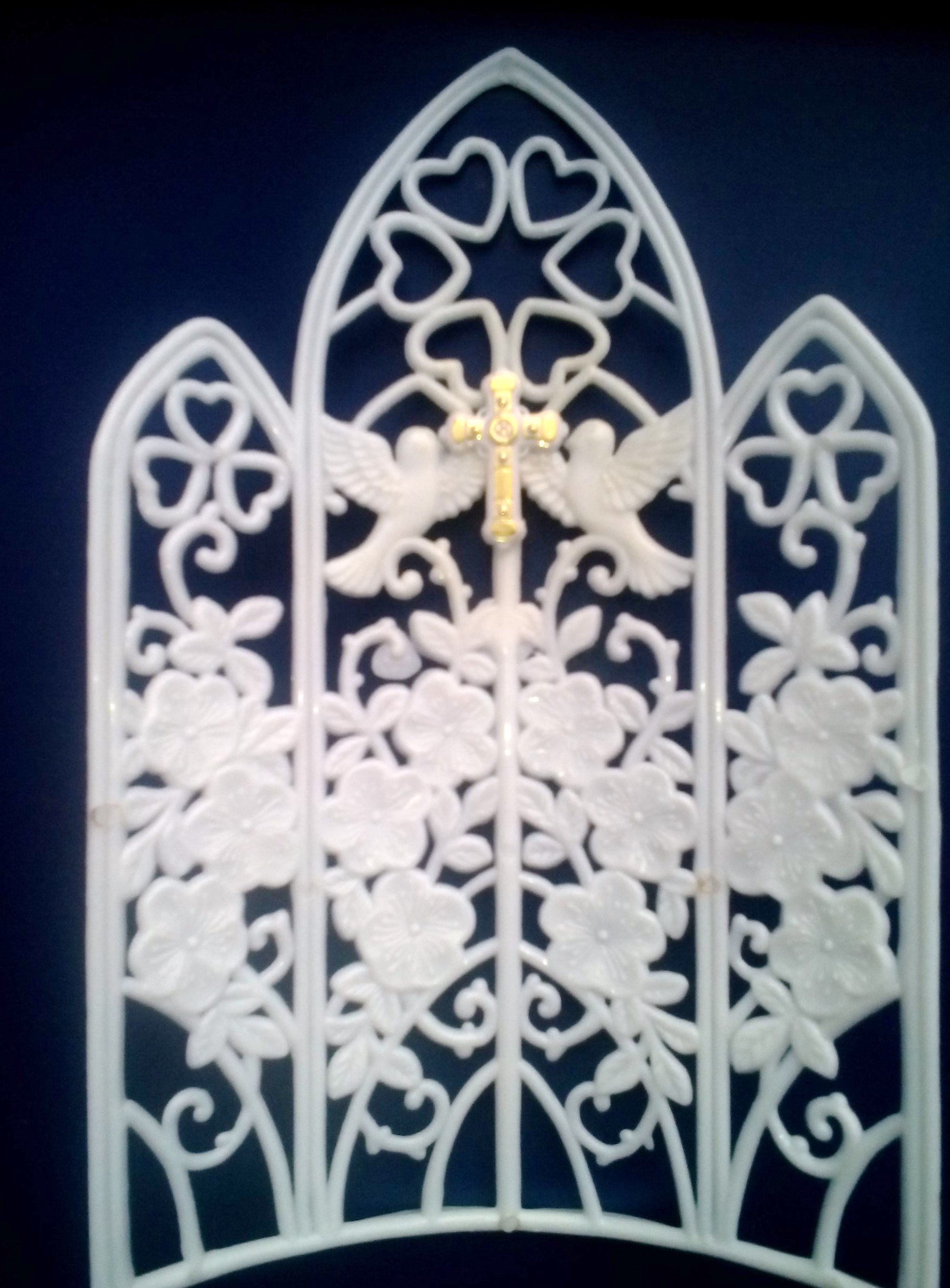 Church Window, 8'' Tall X 4.75'' W, White Plastic, with Gold Cross, Pack of 12 Pieces.