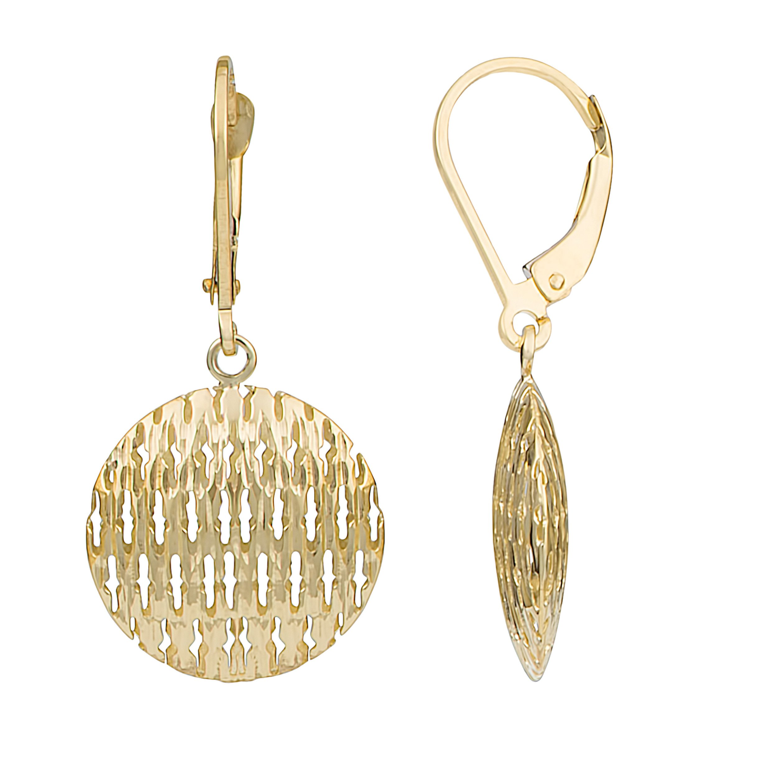 10k Yellow Gold Textured Puffy Round Disc Leverback Earrings
