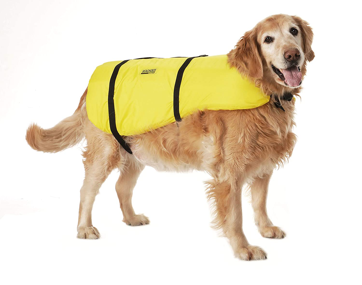 Yellow Seachoice 86340 Dog Life Vest with Grab Handle Size Large 50 to 90 Pounds Adjustable Life Jacket for Dogs
