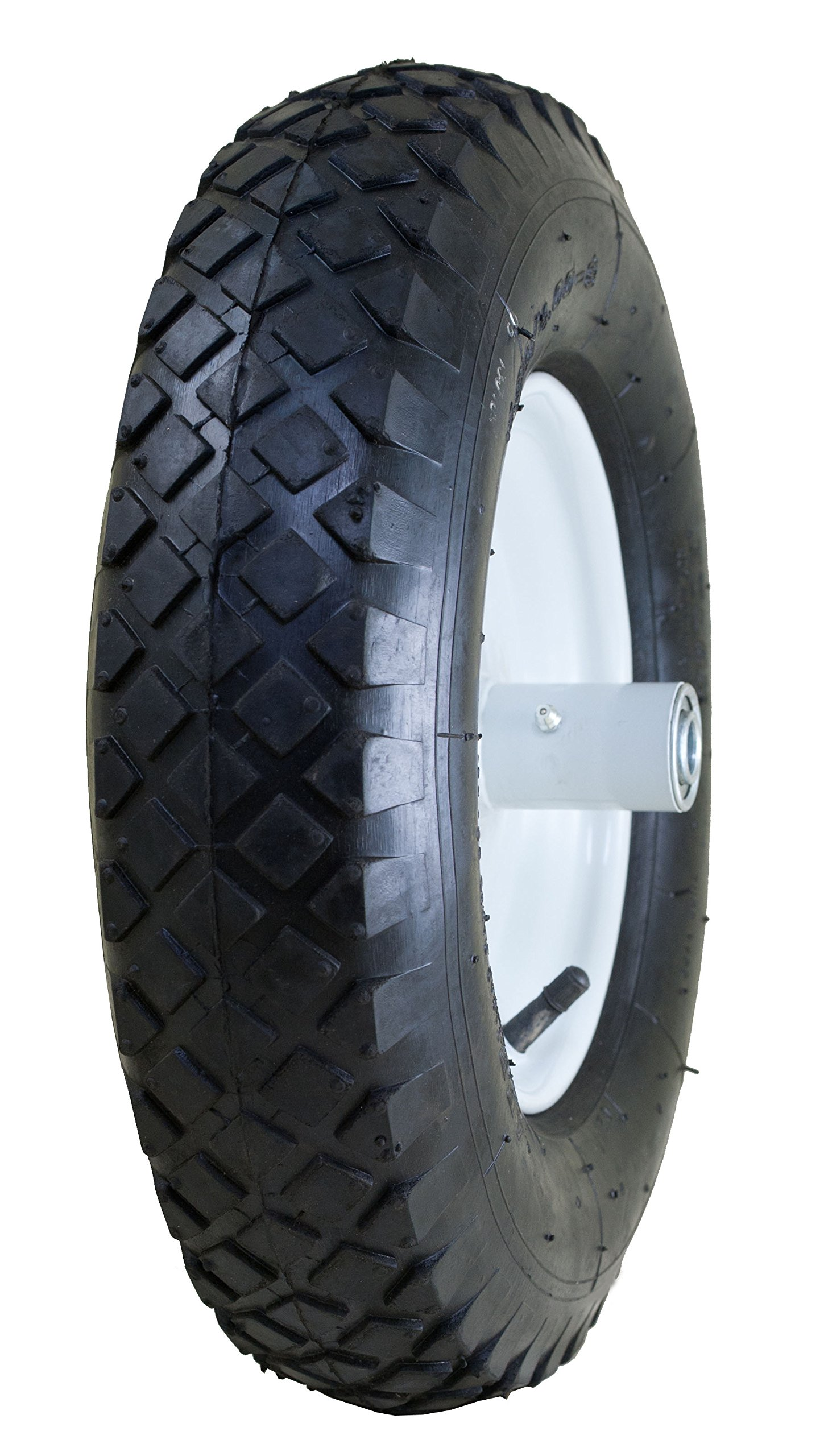 Marathon 4.80/4.00-8'' Pneumatic (Air Filled) Tire on Wheel, 6'' Hub, 5/8'' Bearings, Knobby Tread