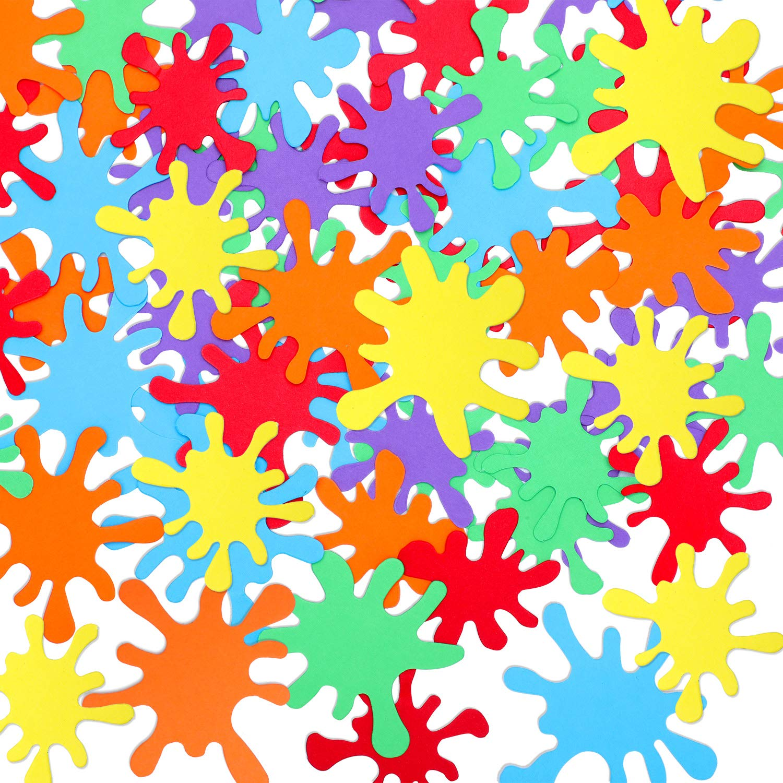300 Pieces Art Splatter Confetti Paint Splatter Paper Confetti Art Party Splatter Confetti for Art Paint Party Birthday Wedding Decoration