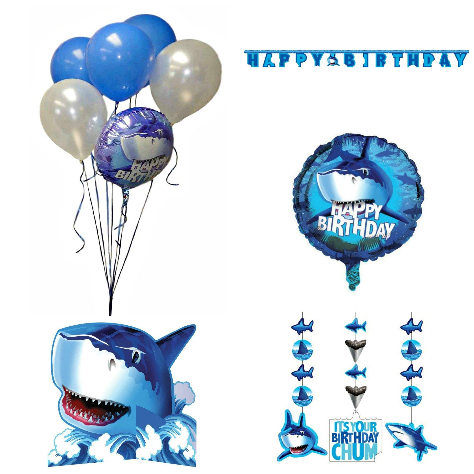 Creative Converting Shark Splash Birthday Bundle – Banner Hanging Decoration Centerpiece and Balloons (Blue- decorations)
