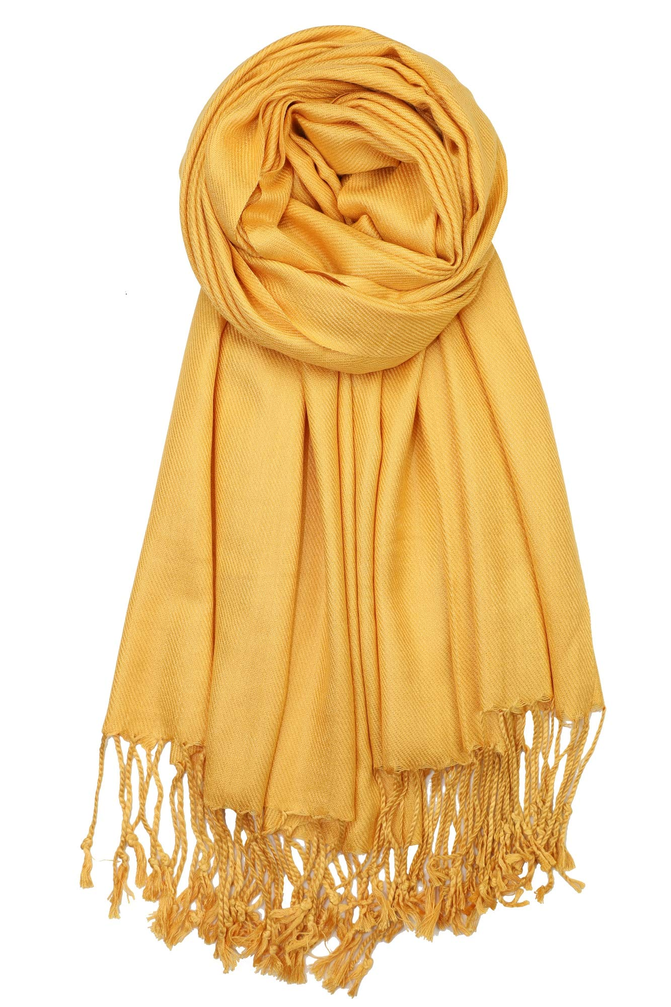 Achillea Soft Silky Solid Pashmina Shawl Wrap Scarf for Wedding Bridesmaid Evening Dress (Mustard Gold)