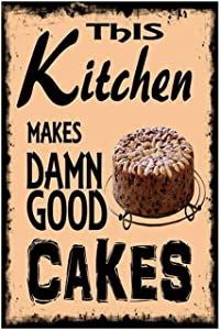 """Good Cakes Vintage Wall Decor w/ Funny Quote, Unique Metal Wall Decor for Home, Bar, Diner, or Pub 12""""x8"""" in. Metal Tin Signs, Fun Kitchen Decor, Funny Bar Signs, Vintage Kitchen Signs"""