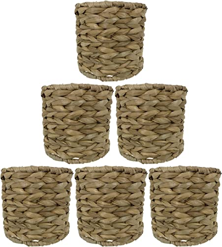 Urbanest Set of 6 Natural Woven Seagrass Chandelier Drum Lamp Shades, Clip-on, 5-inch by 5-inch by 4 3 8-inch