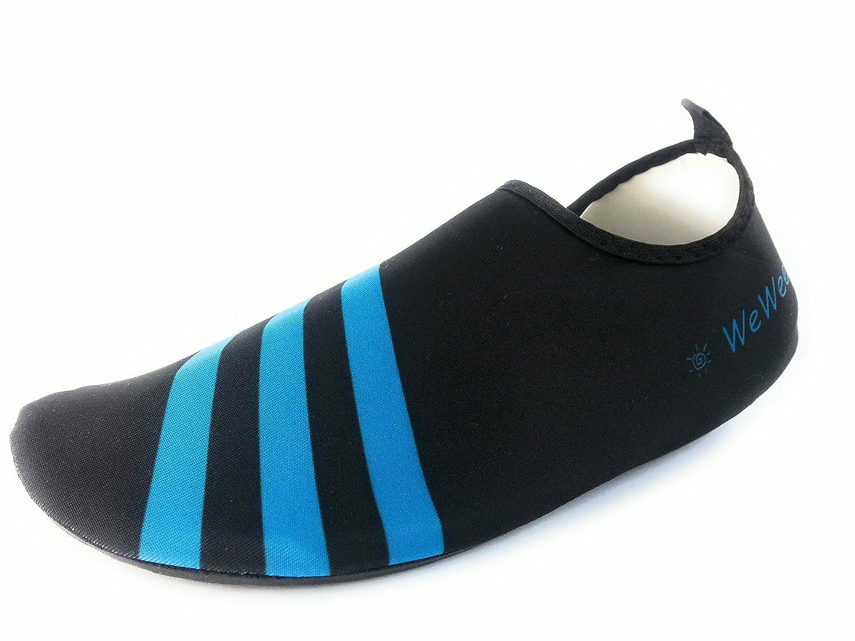 WeWee Zapatillas de Gimnasia Para Hombre Negro Schwarz Mit 3 blauen Streifen, Color Negro, Talla 37/38