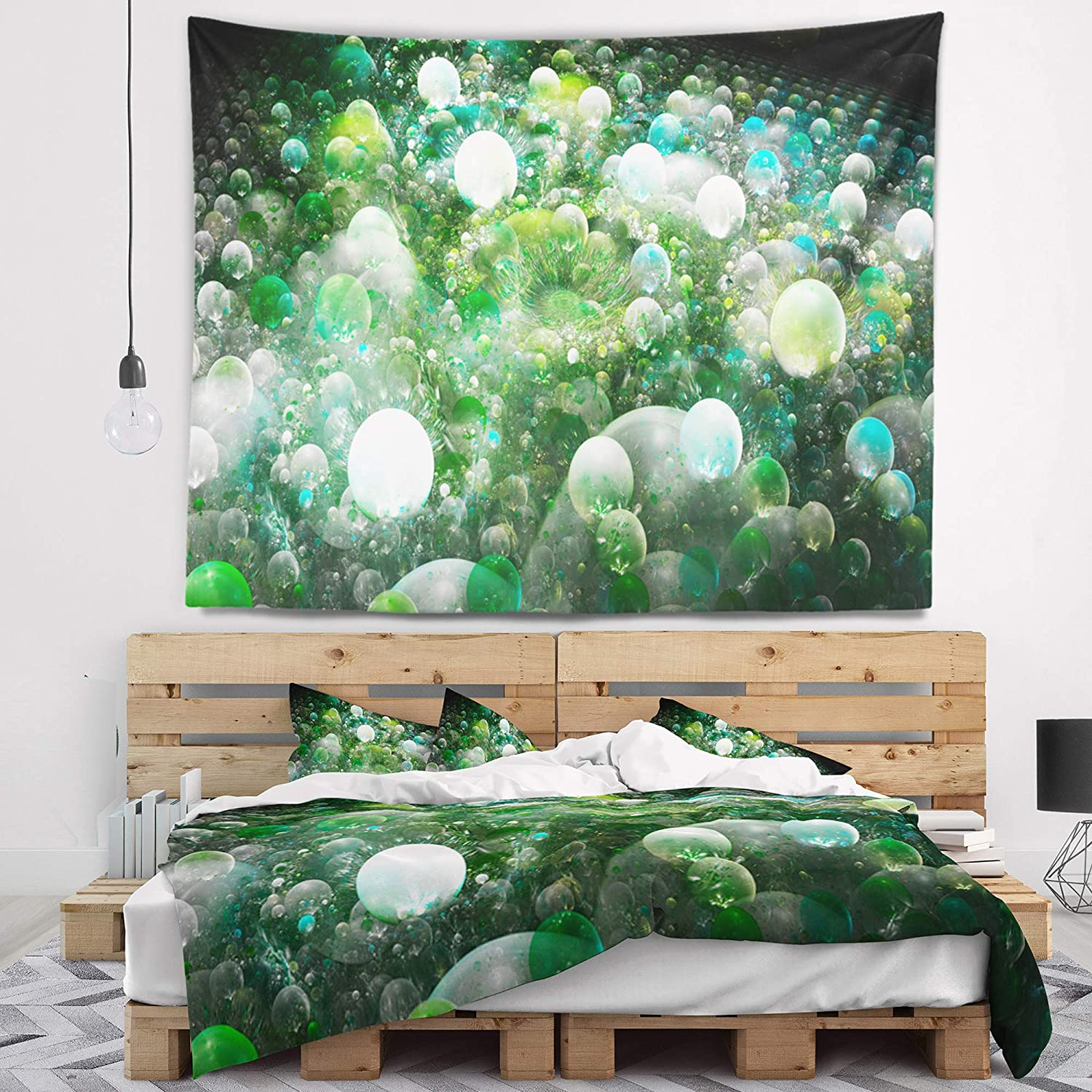 39 in x 32 in Designart TAP16294-39-32  Green Fractal Molecule Pattern Abstract Blanket D/écor Art for Home and Office Wall Tapestry Medium Created On Lightweight Polyester Fabric