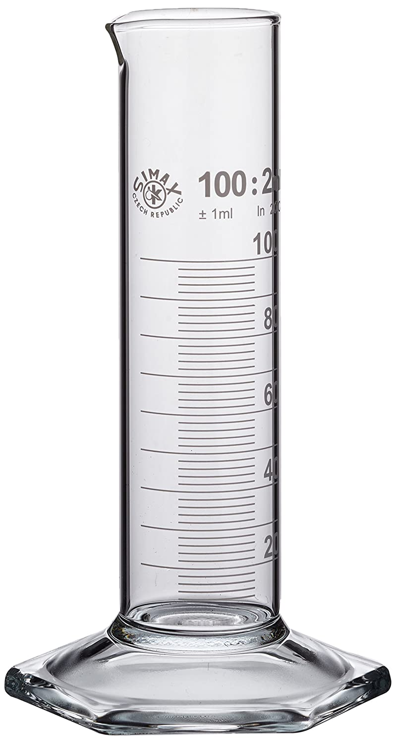 Neolab E-1278  Measuring Cylinder 100 ml Low Form Hex Foot High Class B Pack of 2