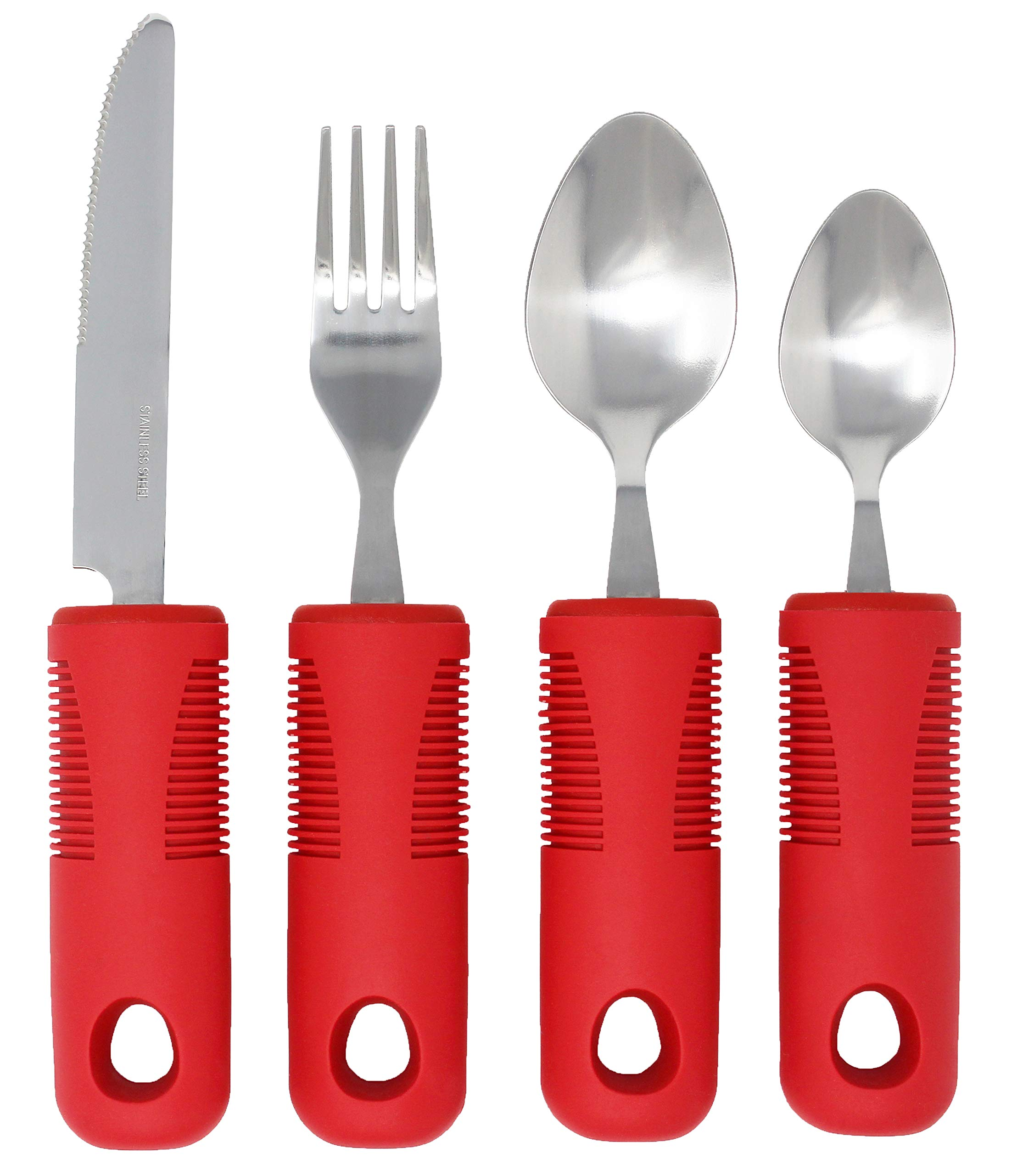 Adaptive Utensils (4-Piece Kitchen Set) Wide, Non-Weighted, Non-Slip Handles for Hand Tremors, Arthritis, Parkinson's or Elderly use | Stainless Steel Knife, Fork and Spoons (Red - 1 Set)