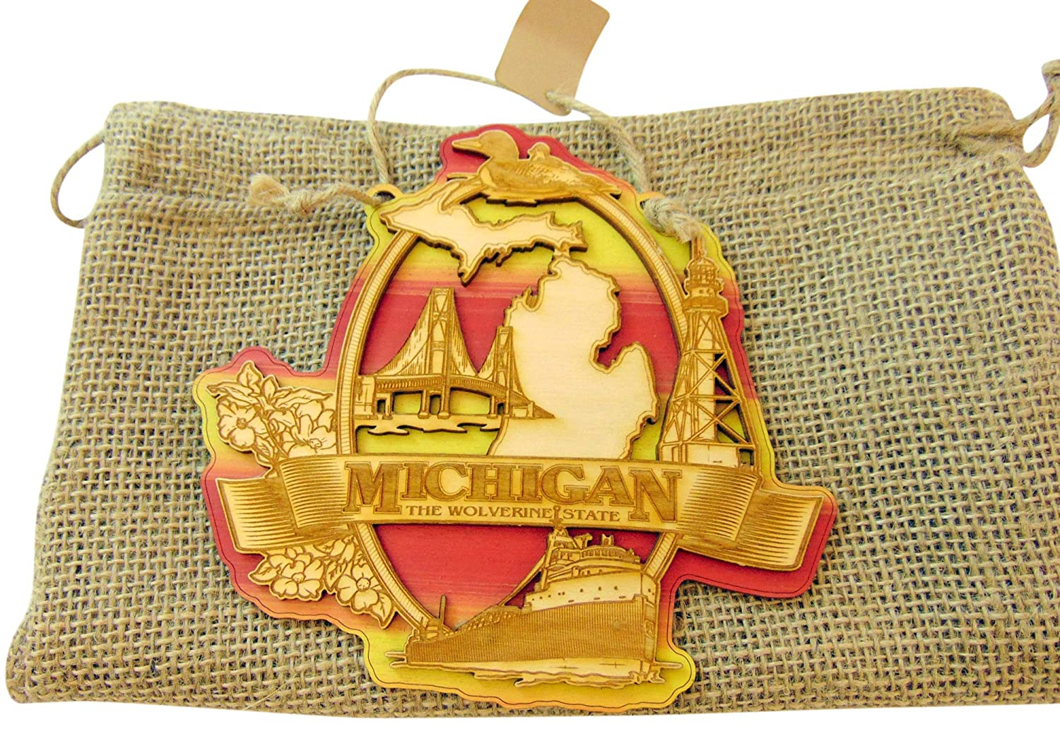 Westman Works Michigan Wooden Hanging Door Plaque with Gift Bag Made in The USA 6 inch