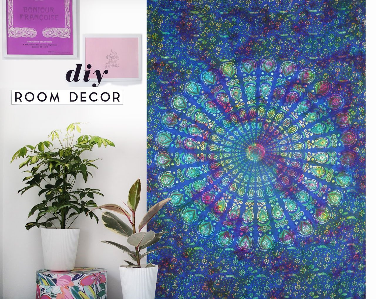 Future Handmade Twin Size Tie Dye Mandala Tapestry Pure Cotton Bed Sheet Bohemian Mandala Modern Bedroom India Handmade Room Decoration Wall Hanging Handmade Bedspread (Design 8)