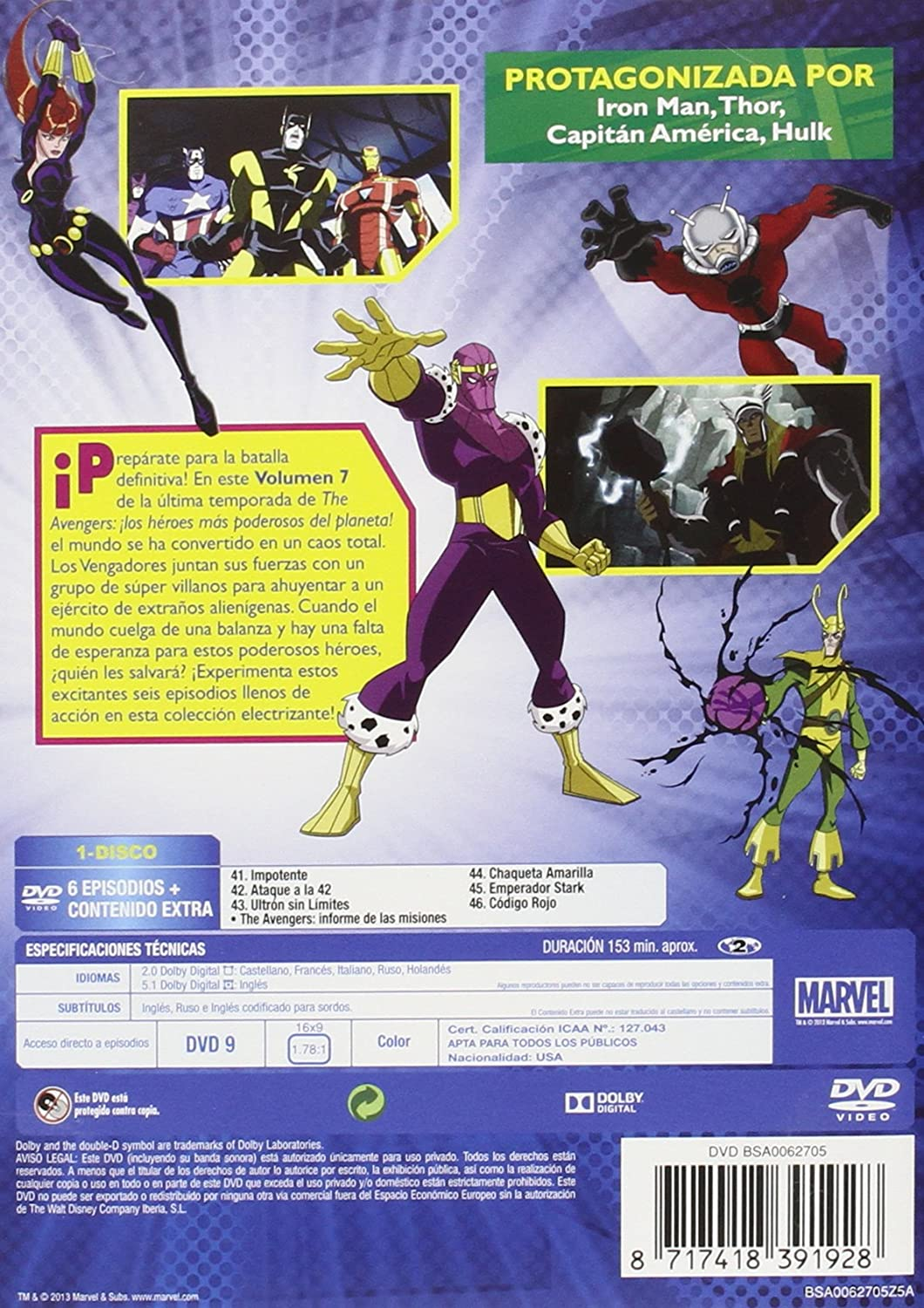 Amazon.com: The Avengers: Los Heroes Mas Vol 7 (Import Movie ...