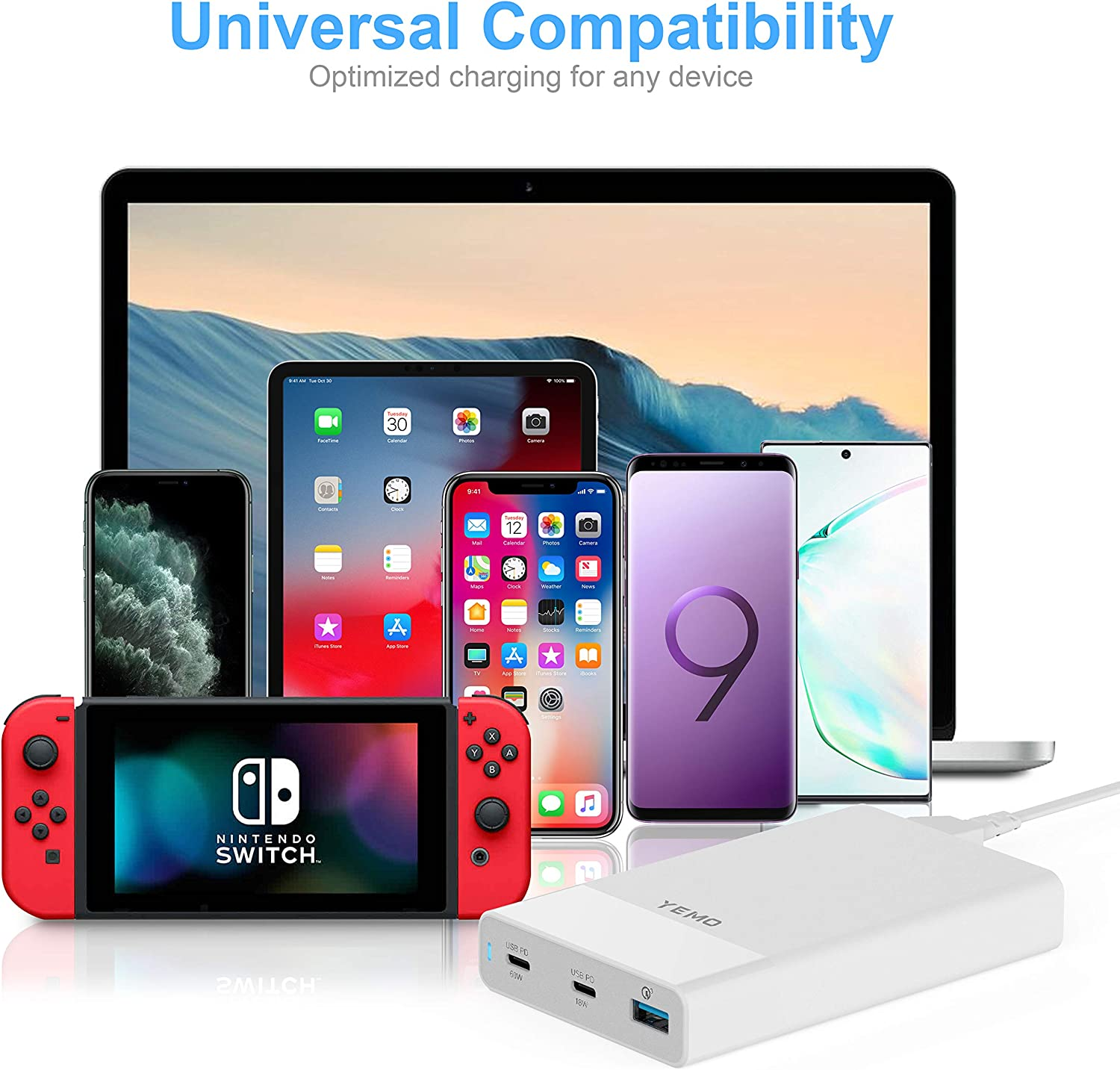 Pixel USB C 60W/&18W PD /& QC 3.0 18W Power Adapter for MacBook Pro//Air iPad Pro USB C Charger YEMO Type-C Charging Station with Power Delivery Total 90W 3-Port Galaxy and More iPhone 11//Pro//Max