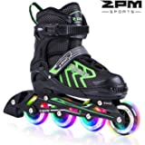 2pm Sports Brice Pink Adjustable Illuminating Inline Skates with Full Light Up LED Wheels, Fun Flashing Rollerblades for Girls
