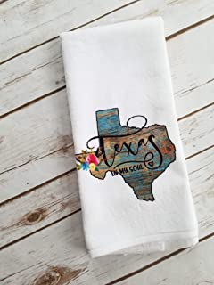 Texas in My Soul Kitchen Bathroom Towel State Home Decor Gift