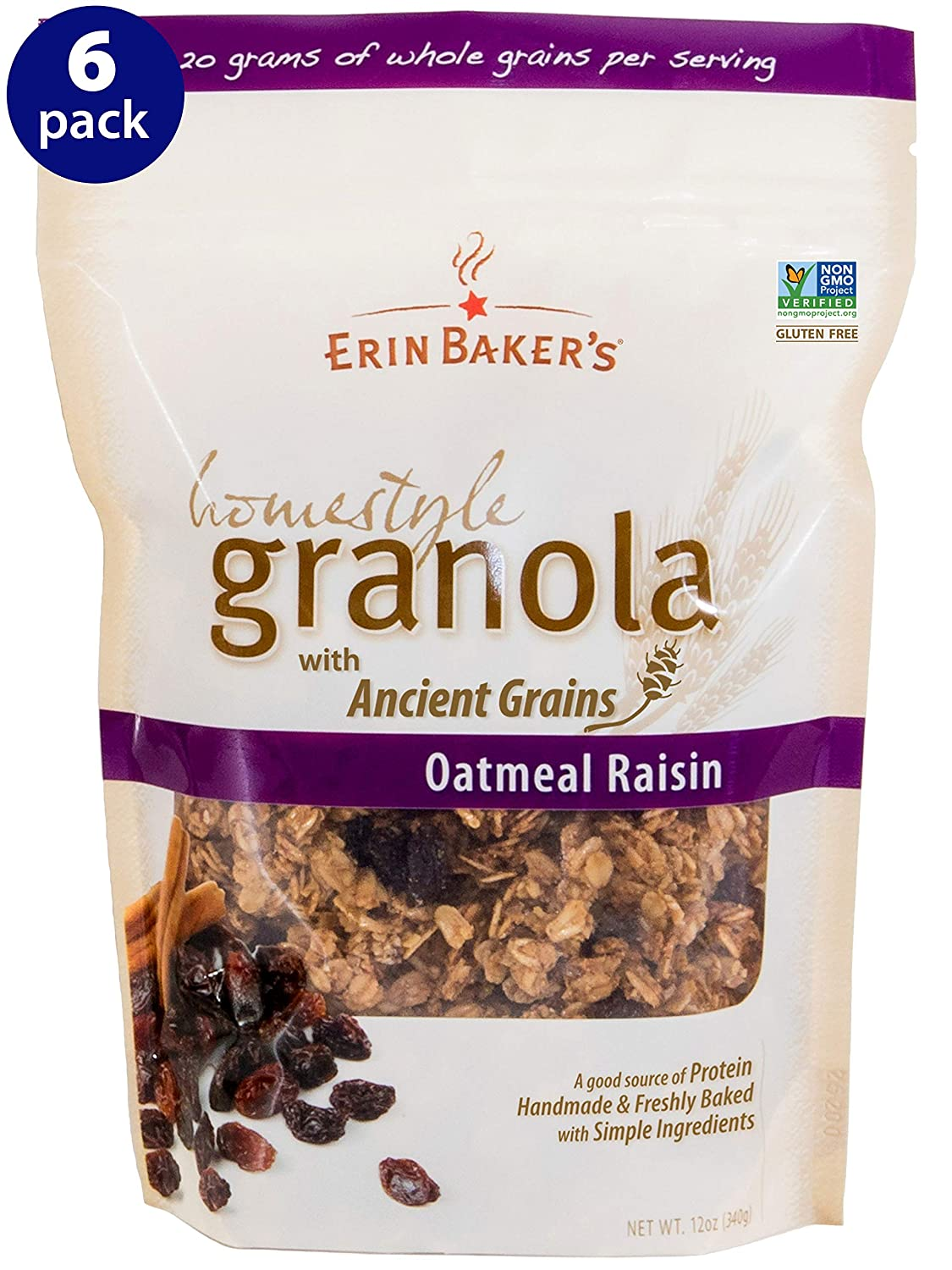 Erin Baker's Homestyle Granola, Oatmeal Raisin, Gluten-Free, Ancient Grains, Vegan, Non-GMO, Cereal, 12-ounce bags (Pack of 6)