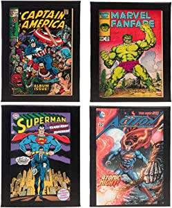 Artissimo (4 Piece Vintage Comic Book Superhero Canvas Wall Art Framed Superman Hulk Captain America Art Wall Decor for Office Home
