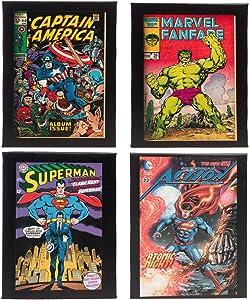 Artissimo (4 Piece Vintage Comic Book Superhero Canvas Wall Art Framed Superman Hulk Captain America Art Wall Decor for Office Home