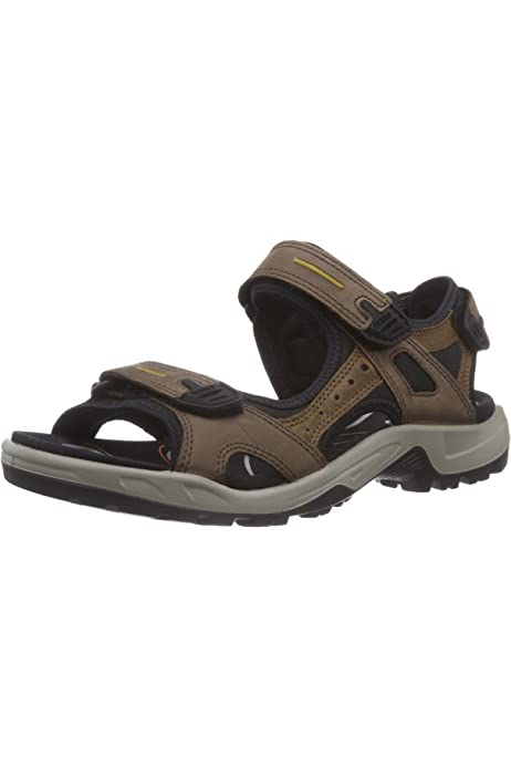 Ecco Offroad Espresso Cocoa Brown Mens Nubuck Leather Strappy Sports Sandals