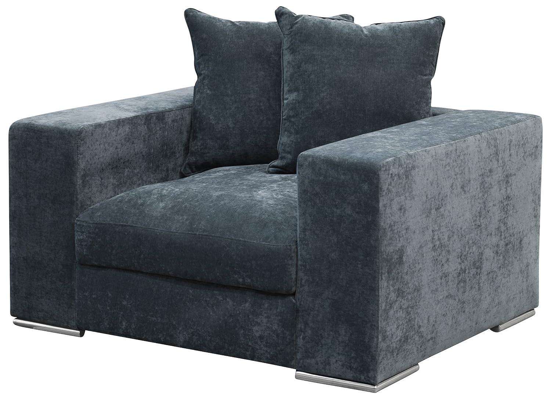 Amaris Elements | Sessel 'Paul' Samt aus Mikrofaser, blau grau, inklusive zwei Kissen, 130x106x65 cm
