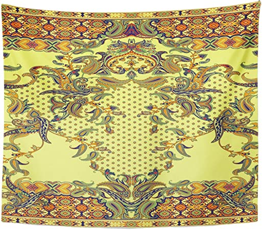 Berrykey Tapestry Yellow Ethnic Floral Pattern en Paisley Style Abstract Arabesque Home Decor Wall Hanging for Living Room Bedroom Dormisette 50 x 60 Inches: Amazon.es: Juguetes y juegos