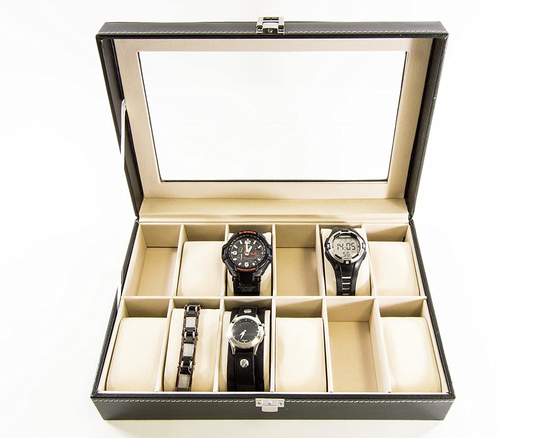 Amazoncom SciencePurchase Watch Box Large 12 Mens Black Leather