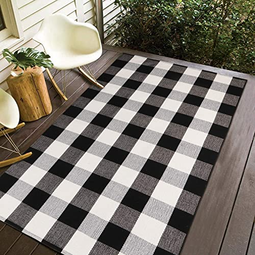 100 Cotton Plaid Rug, KIMODE Black White Hand-Woven Buffalo Checkered Floor Mats 35.4 x 59 , Washable Carpet for Porch Doormat Kitchen Rugs