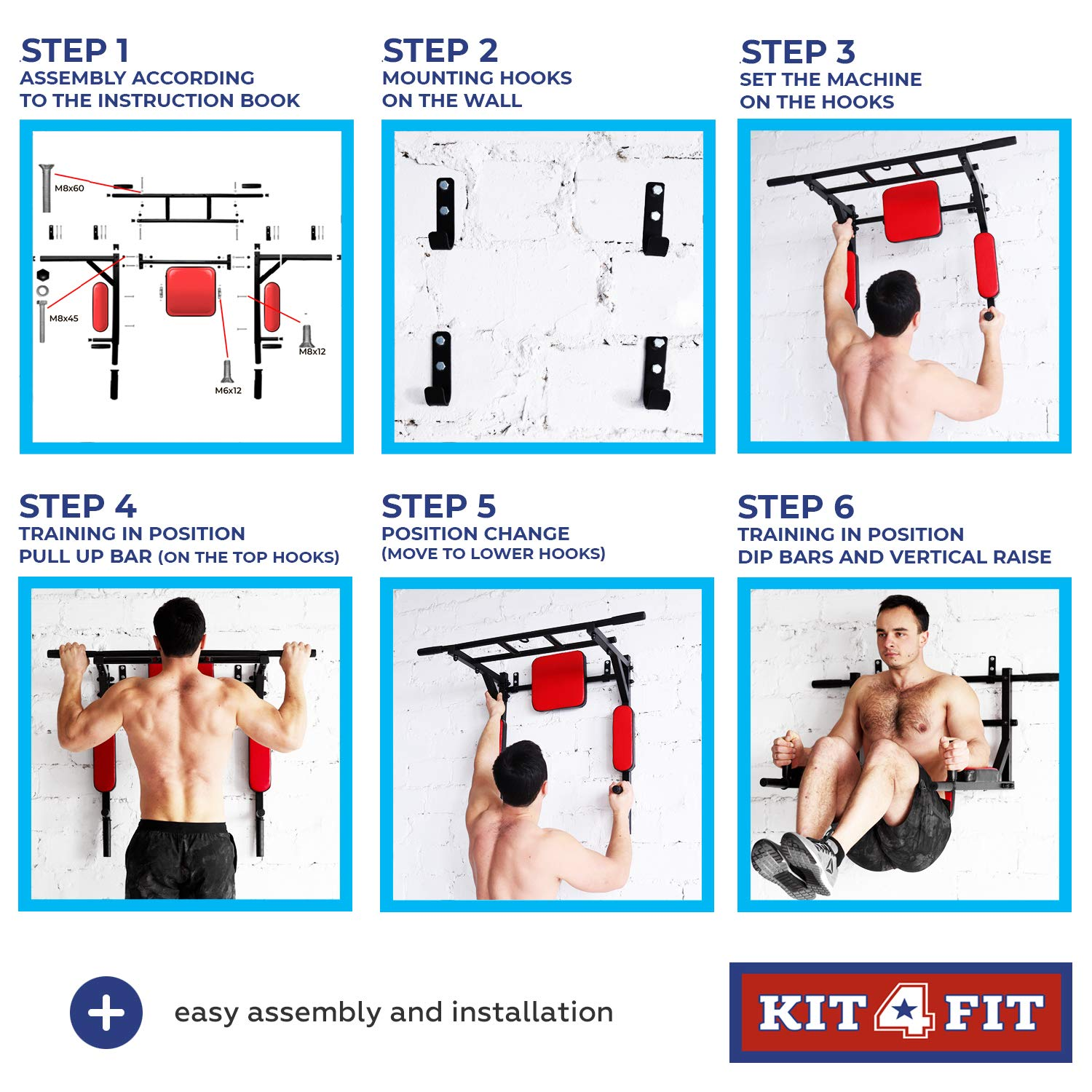 Wall Mounted Pull Up Bar and Dip Station with Vertical Knee Raise Station Indoor Home Exercise Equipment for Men Woman and Kids Great for Workout and Fitness (Red) by Kit4Fit (Image #2)