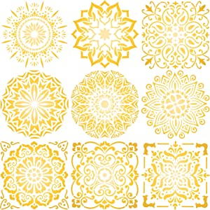 12 x 12 Inch Large Size Reusable Stencil Mandala Stencil Laser Cut Painting Template Floor Wall Tile Fabric Furniture Stencils Painting Stencils Mandala Painting Stencils Set of 9