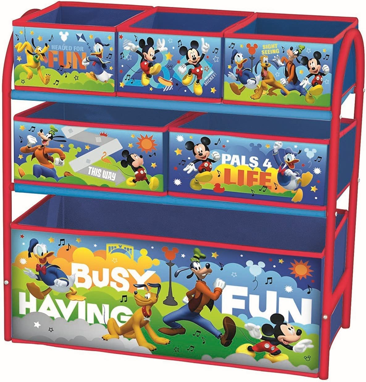 Kids Bedroom Playroom Furniture Minnie Mouse Childrens Toy Storage Box Organiser Metal Multi Tray Toy Chests Boxes