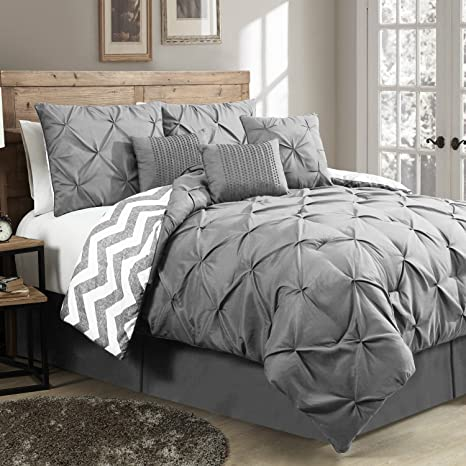 King Size Bedding Sale.King Size Light Weight Reversible Bedding Comforter Set With Pintucks On Sale 7 Pieces Gray Color
