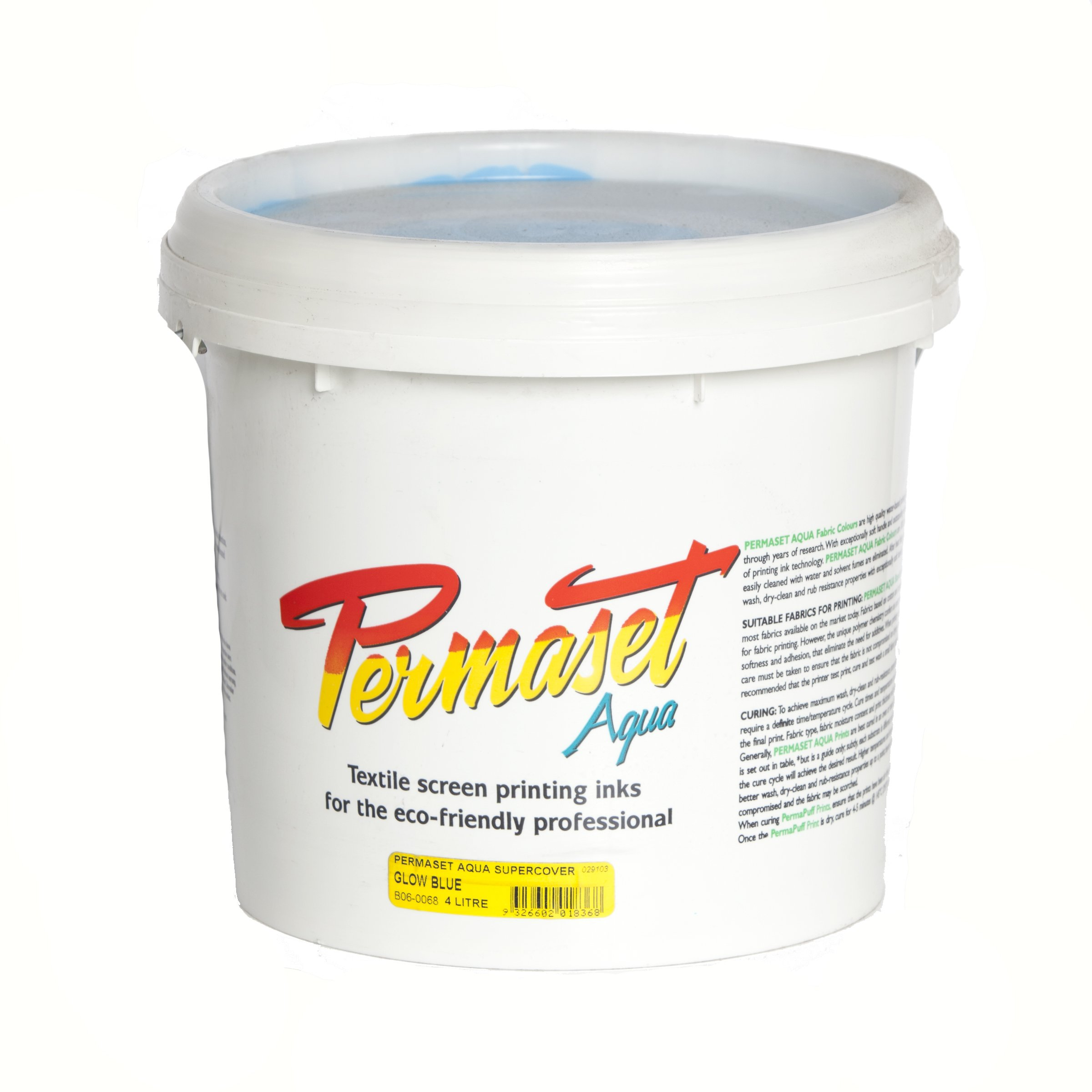 Permaset Aqua Supercover 4 Litre Fabric Printing Ink - Glow Blue by OfficeMarket
