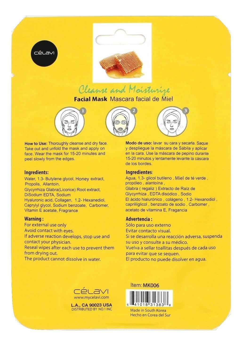 Amazon.com : Celavi Essence Facial Mask Paper Sheet Korea Skin Care Moisturizing 24 Pack (Honey) : Beauty