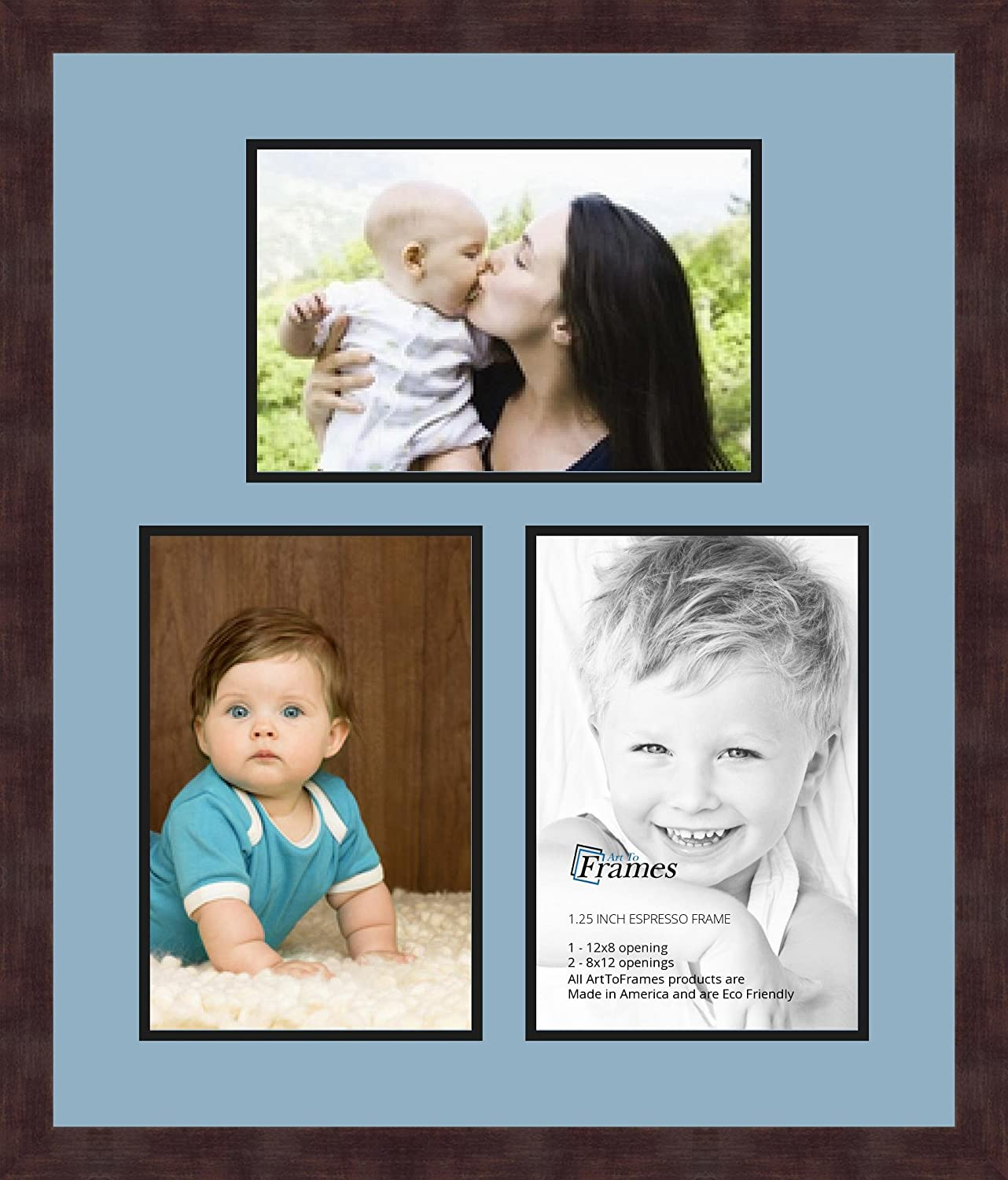 Art to Frames Double-Multimat-677-716//89-FRBW26061 Collage Frame Photo Mat Double Mat with 3-8x12 Openings and Espresso Frame