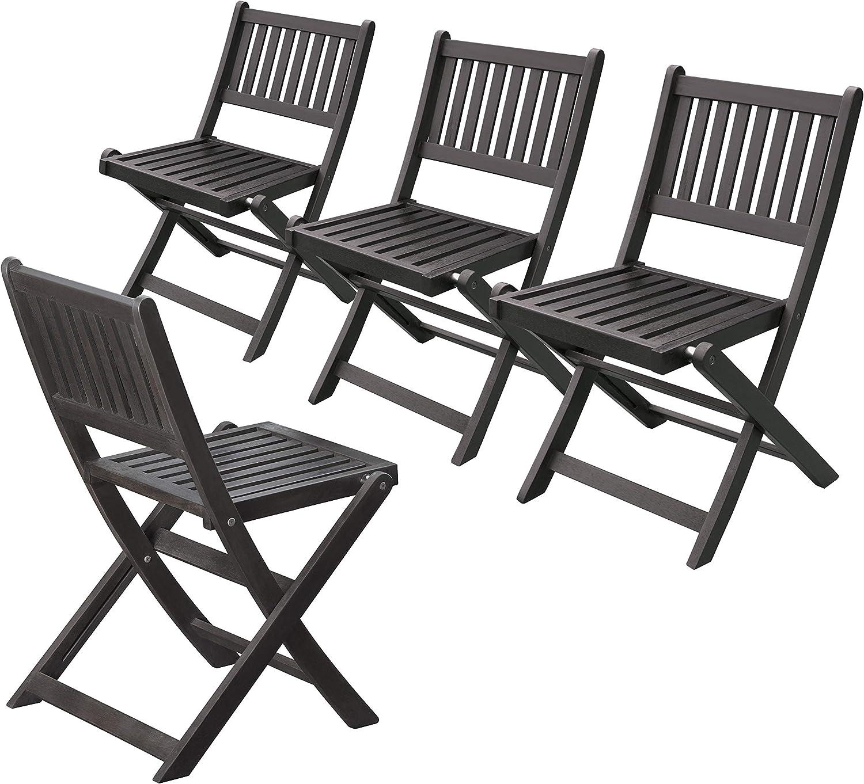 Merry Garden Eucalyptus Folding Chairs Set of 4 , Espresso Stain