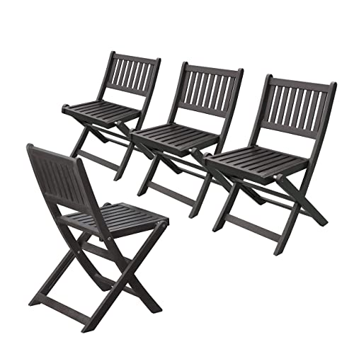 Merry Garden Eucalyptus Folding Chairs Set of 4 , Espresso Stain