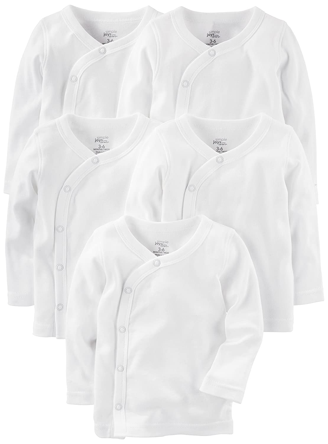 Simple Joys by Carter's Baby 5-Pack Side-Snap Long-Sleeve Shirt Simple Joys by Carter's A26G064