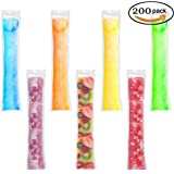 200 Pieces Ice Popsicle Molds Bags,Zip-Top Disposable DIY Ice Pop Mold Bags for Yogurt, Ice Candy, Otter Pops or Freeze Pops