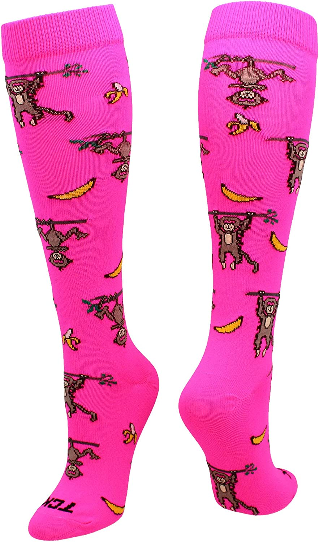 TCK Monkeys and Bananas (Pink, Medium) : Athletic Socks : Clothing