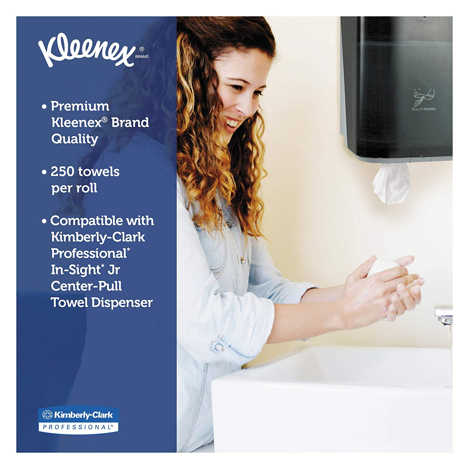 Perforated 15 x 8 250 per Roll 8 2//5 dia Kleenex 01320 Premiere Center-Pull Towels Case of 4 Rolls