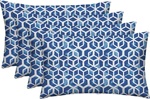 RSH D cor Set of 4 Decorative Indoor Outdoor Throw Toss Pillows Choose Size and Fabric Color, Great for Porch, Patio, Deck and Home Decor 26 x16 , Celtic Admiral Blue Geometric