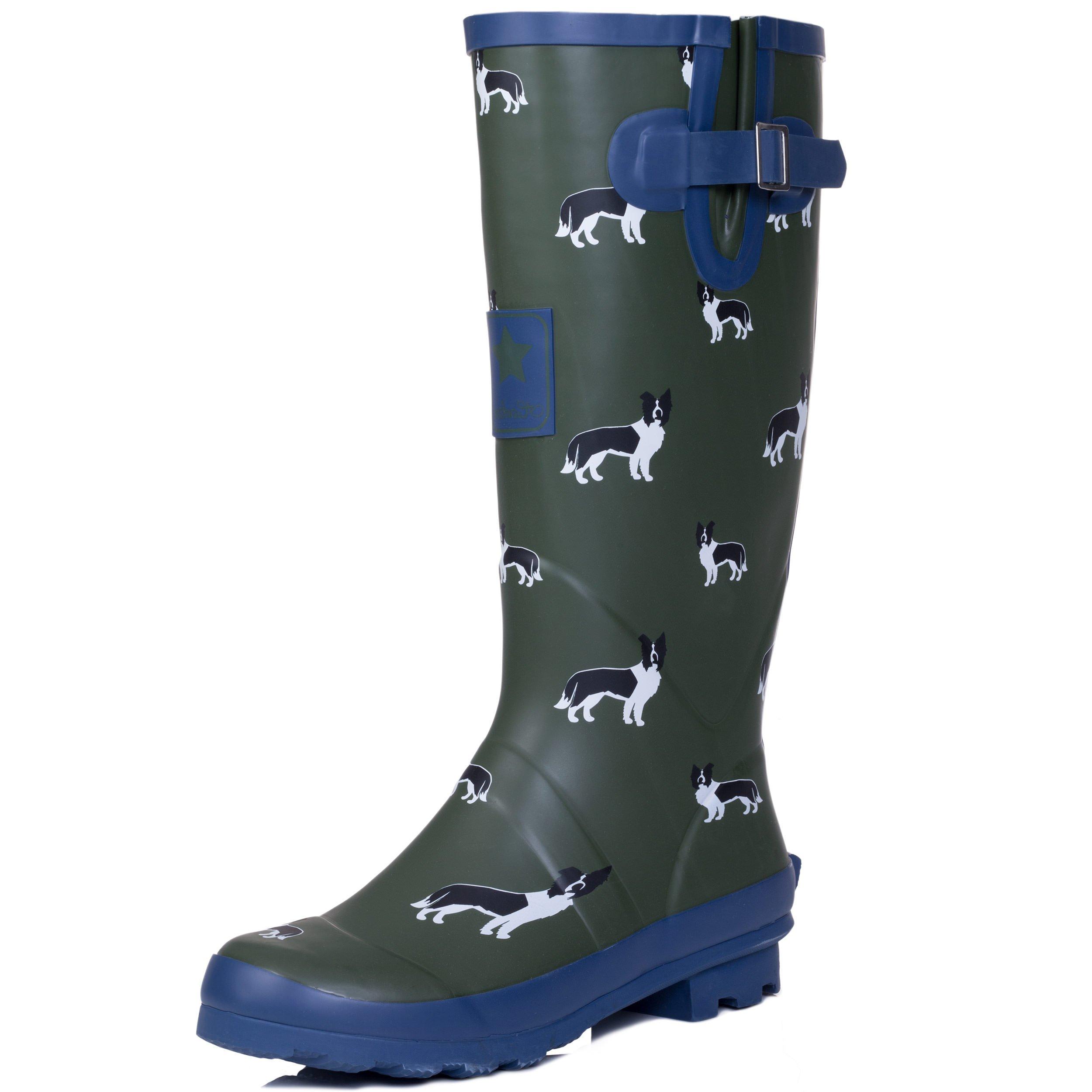 Spylovebuy Adjustable Buckle Flat Festival Wellies Rain Boots Border Collie Dog Sz 7