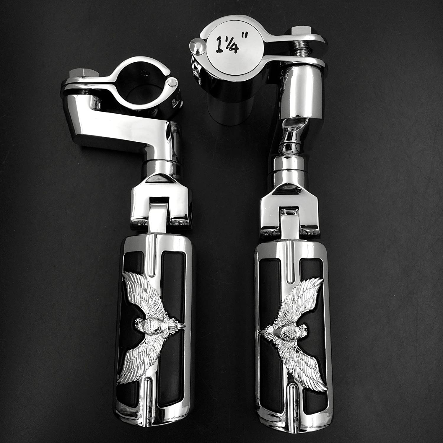 Brand New Eagle Hawk Shape 1 1//4 Highway Radical Stiletto 4475 Foot Pegs Clamps For Harley Sportster Touring Chrome Body Black Rubber