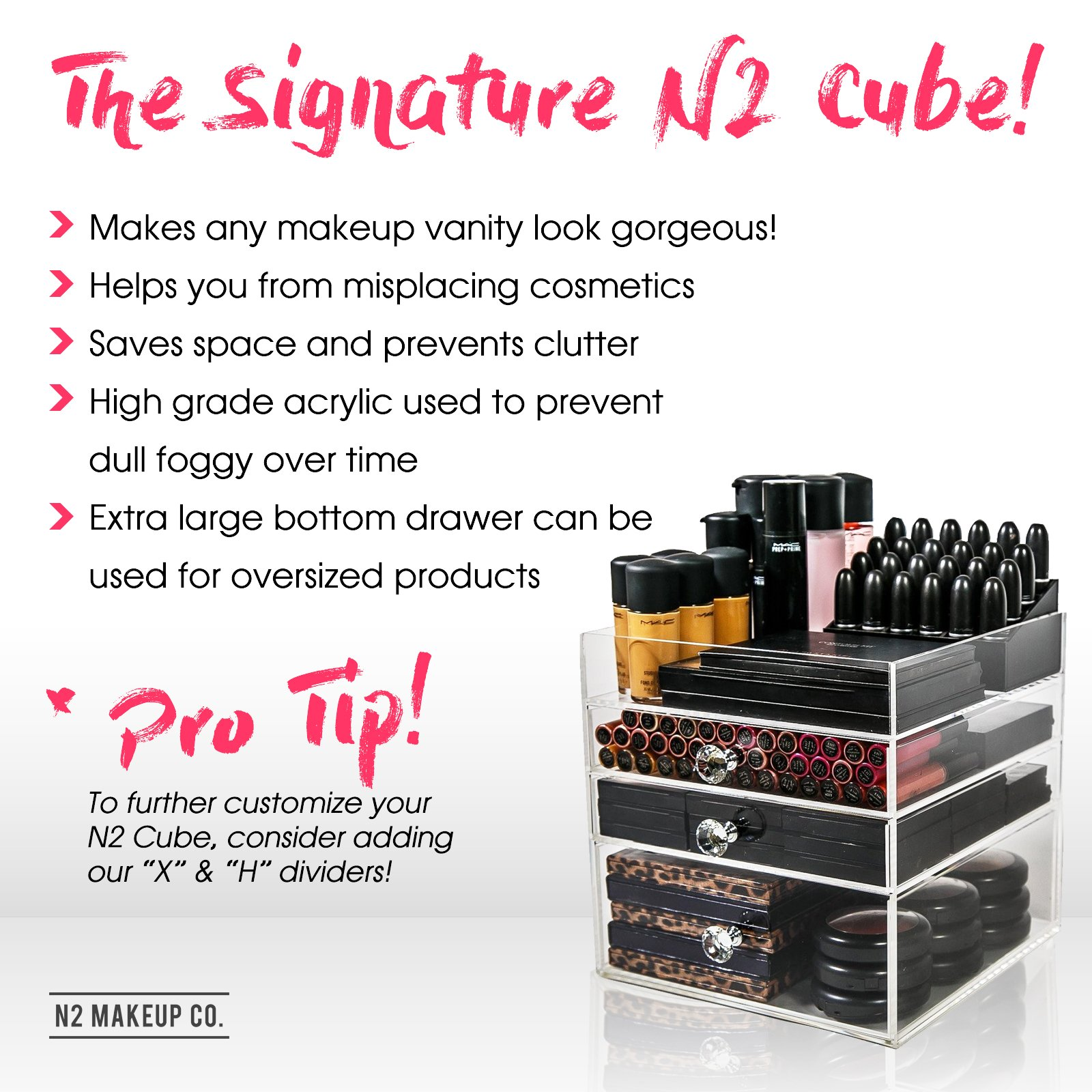 Acrylic Makeup Organizer Cube | 3 Drawers Storage Box For Vanity Tables | By N2 Makeup Co by N2 Makeup Co (Image #1)
