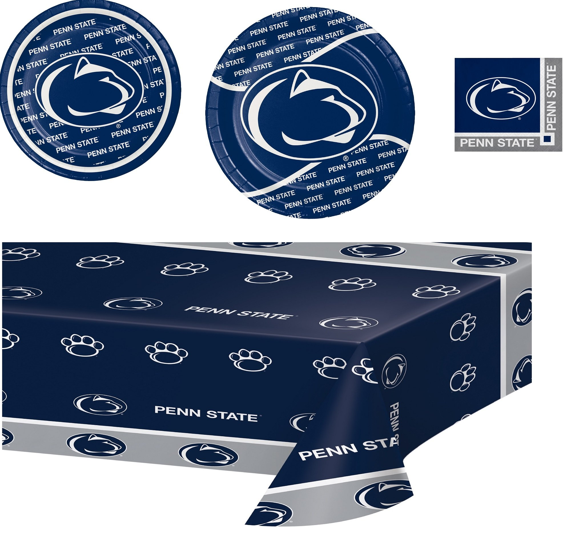 Penn State Nittany Lions Party Supplies Bundle (Serve 16 with Cloth)