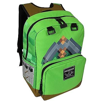 57a07aa2b744 JINX Minecraft Pickaxe Adventure Kids School Backpack, Green, 17