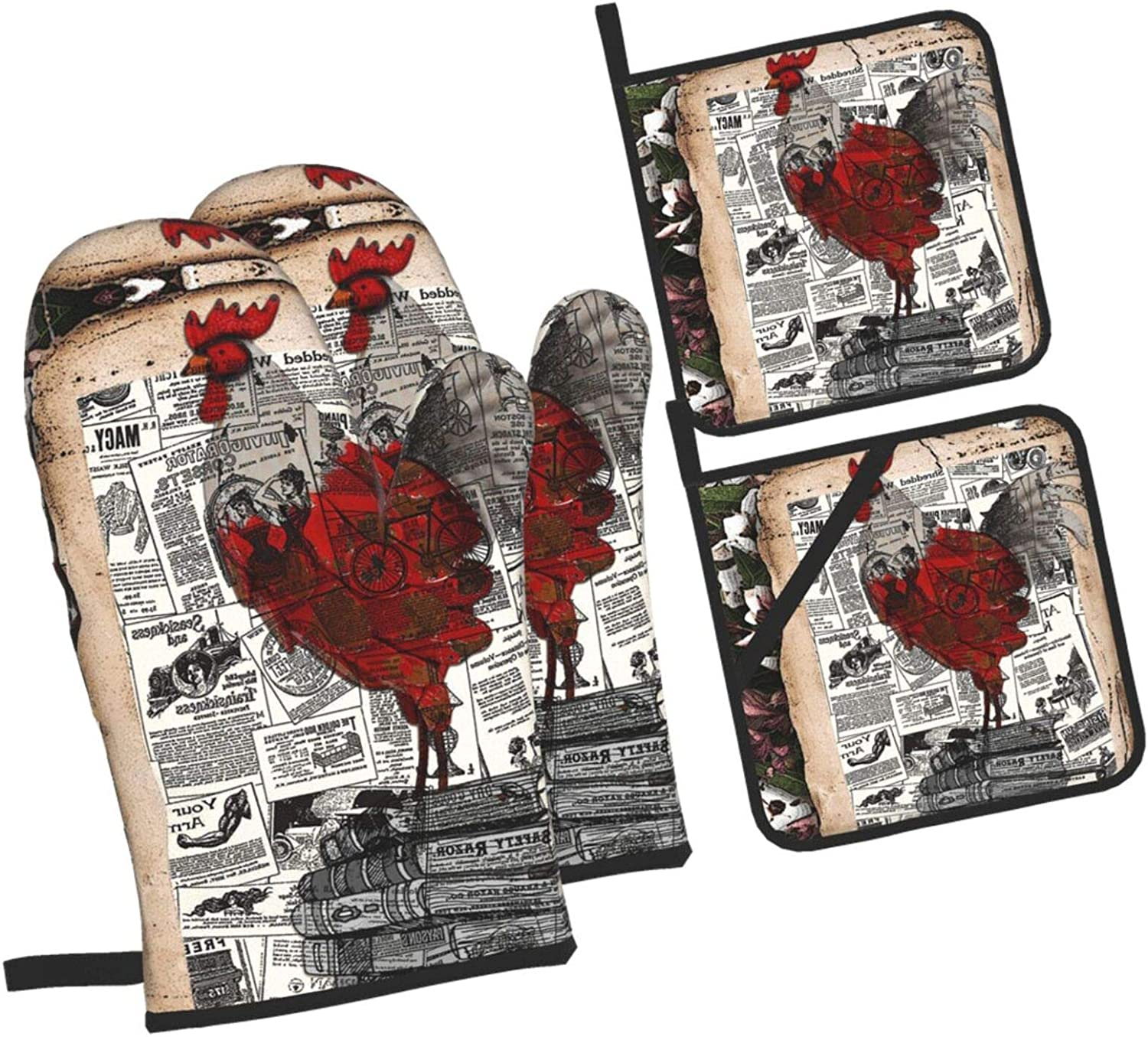Red Vintage Rooster Oven Mitts and Pot Holders Set, Non Slip Oven Gloves and Potholders with Soft Lining Kitchen Microwave Gloves for Baking, Cooking, BBQ