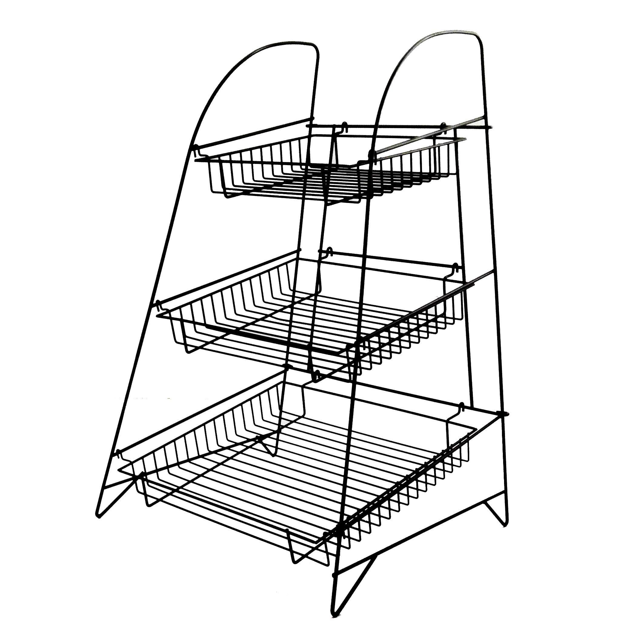 FixtureDisplays 3-Tier Wire Display Rack Bakery Snacks Confection Tray Display Countertop Stand Black 120047-NPF